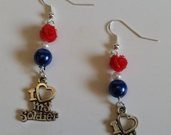 I love my soldier earrings and Flag necklace