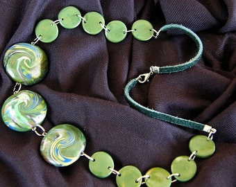 Green Polymer Clay lentils Necklace