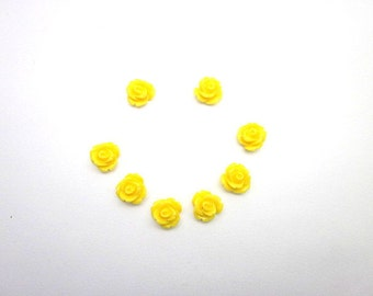 Yellow Cabochons -- Yellow Flower Supply -- Yellow Rose Cabochons -- Wholesale Mini Flower Supply -- Flat Back Yellow Cabochon -- 10mm Cabs