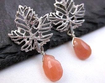 Moonstone Dangles -- Moonstone Drop Earrings -- Leaf Posts -- Peach Stone Earrings -- Peach Moonstone Earrings -- Peach Leaf Earrings