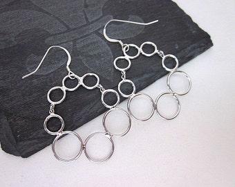 Round Silver Hoops -- Silver Circle Earrings -- Fun Hoops -- Silver Bubble Earrings -- Silver Hoop Dangles -- Silver Multi Hoop Earrings