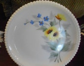 Vintage Westmoreland Milk Glass White Plate with Yellow and Blue Flowers and Beaded Edge