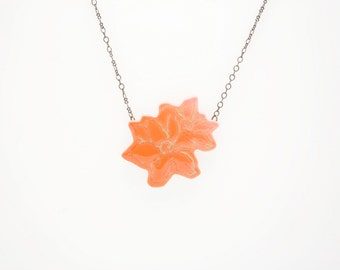 Medium Apricot Flower Couple with Antiqued Brass Chain