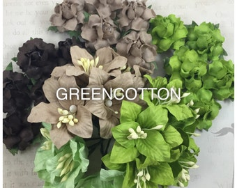 30 mixed earth green brown mulberry paper flowers code  Gr-Br/L836
