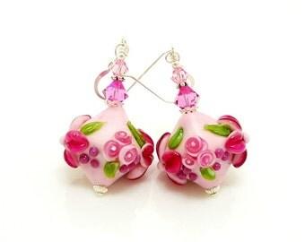 Pink Floral Earrings, Lampwork Earrings, Glass Earrings, Glass Beads Earrings, Beadwork Earrings, Crystal Shaped Earrings, Dangle Earrings