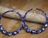 Dangle Hoops, Royal blue n Porcelain beaded