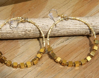 Dangle Hoops, Gold colored Hematite Squares