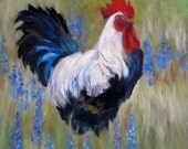 Rooster and Bluebonnets, Digital Print of Original Painting by Cheri Wollenberg