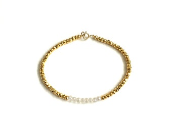 LIMITED EDITION MOONSTONE Single Strand Bracelet | Moonstone & Gold Pyrite