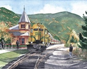 CSRR 216 at Crawford Station - Open edition print of an original watercolor (fits 11x14 frame)