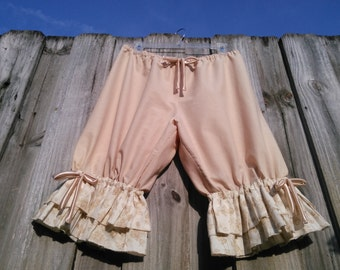 Beige Knee Length Womens Bloomers with double flower ruflles
