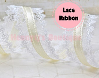 "1.5"" inch IVORY Satin Center / White Lace Edged Ribbon. Gift Wrap. DIY Supplies. Hair Bows - Scrapbooking - Crafts Crafting"