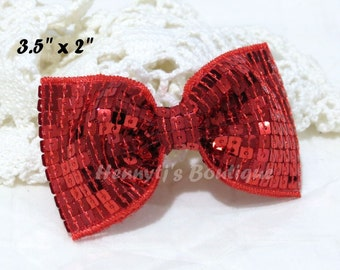 "Elsa Collection: 2 pcs Christmas RED 3.5"" inch Sequin Bow Knot Appliques. DIY Hair Accessories. Hair Bows."