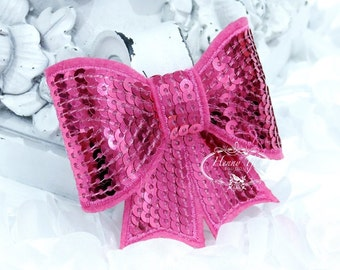 """Set of 2 - XL Sequin Bows - 3"""" Metallic HOT PINK / Fuchsia Sequin Bow Tie Appliques. Hair Accessories. Diy Supplies. Large Sparkling Bow"""