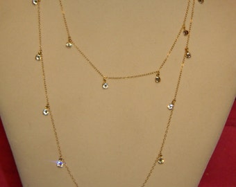 Cougar Town 14K Gold Fill Swarovski Crystal Dangle Necklace, 38 Inch, Dangle Crystals, Wrapped Double Jewelry Chain