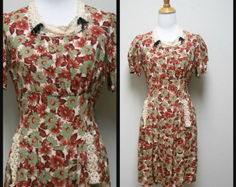 Vintage 1930s/40s Handmade Homemade Rayon Print Day Dress Size S/XS