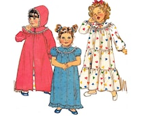 80s Toddler Girls Hooded Robe and Nightgown Pattern Butterick 4674 Size 1 2 3 4 Years UNCUT