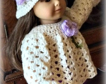 American Girl Doll Hand Crocheted Top and Hat in Cream and Lavender