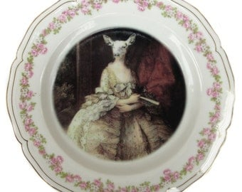 """SALE - Capra Aegagrus Hircus Portrait Plate - Altered Vintage Plate 8.6"""""""