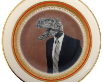 """Mr. T. Rex Portrait Plate - Altered Antique Plate 6.25"""""""