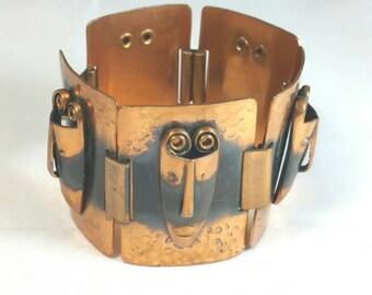 Rebajes Copper Tribal Mask Bracelet