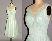 Vintage 1950s Lingerie Nightgown, Mint Green Gossamer 50s Bridal Negligee Nightie, 32 Bust