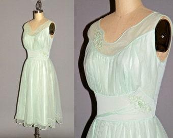 Vintage 1950s Lingerie Nightgown, Mint Green Gossamer 50s Bridal Negligee Nightie, 32 Bust