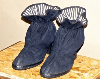 Vintage 1950s Shoes High Heel Rain Galoshes with Rubber Soles by Hood, Rain Boots with Striped Interior, Size 8