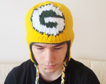 Green Bay Packers Hat Knitted Green and Yellow Adult Women Beanie Costume football tailgating
