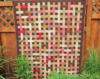 Basketweave Lap Quilt in Pink and Brown
