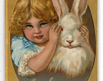 Little Girl with Bunny Easter Greetings Holiday 1910 postcard