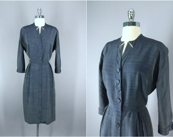 Vintage 1950s Dress / 50s Day Dress / 1950 New Look Dress / Size Medium M
