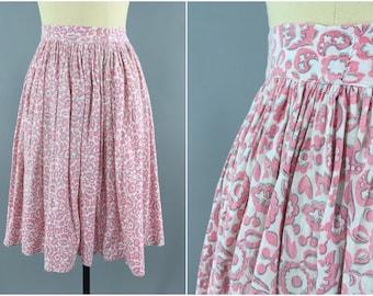 Vintage 1950s Skirt / 50s Full Skirt / 1950 Feed Sack Skirt / Novelty Print Cotton Skirt / Mid-century Mad Men / Summer Skirt