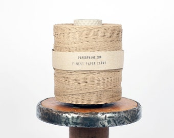Strong Paper Twine / Paper Yarn in Natural-Kraft - Knit, Crochet, Weave, Gift Wrap, Fiber Arts, DIY Supply - Handwash - Ecofriendly