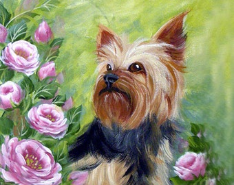 Custom Yorkshire Terrier Painting 8x8 Inches ~ Birthday Gift ~ Pet Memento ~ Dog Portrait ~ Yorkie Painting