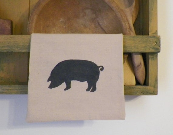 Primitive kitchen decor dishtowel towel pig farm animal Pig kitchen decor
