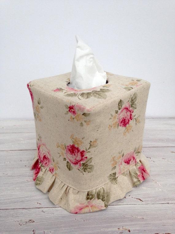 Shabby chic rose ruffled tissue box cover for Tissu shabby chic