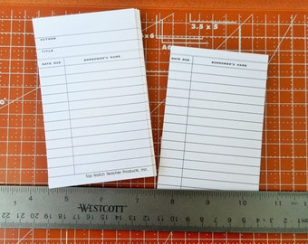 Library cards set of 100 check out cards. Journaling tags