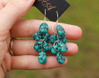 Genuine Turquoise Earrings, Dangle Earrings, Drop, December Birthstone, Cascade Earrings, Long, Waterfall, Natural Turquoise, Gemstone