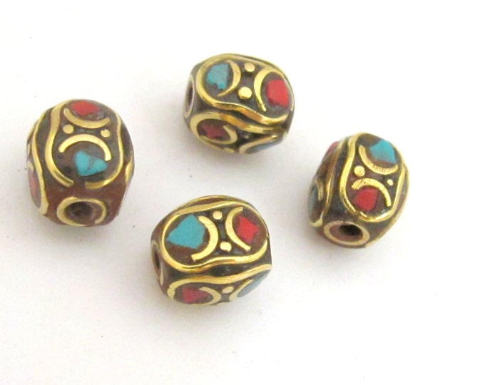 4  beads - Tibetan brass bead with turquoise coral inlay - BD730