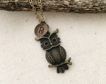 Owl Necklace, Initial Necklace, Hand stamped Necklace, Best friend Gift, Handmade