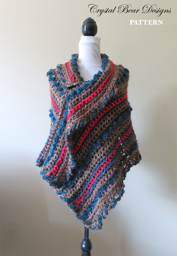 Crochet Shawl Pattern Wrap With Buttons Pdf Download