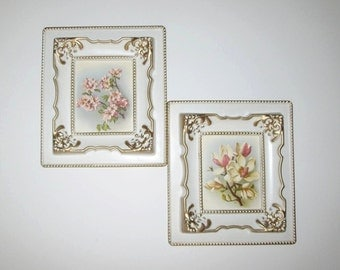 Vintage Pink Floral Framed Print Picture Wall Hanging With Wondura Frames - Pair