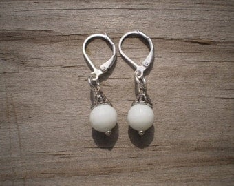 Faceted White Glass Leverback Earrings