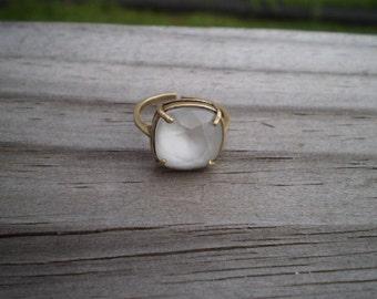 Faceted Swarovski Powder Gray Adjustable Ring