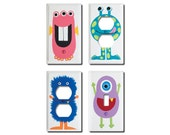 Switch Plate - Custom Hand Painted Wooden Light Switch or Electrical Cover Plate Monster Theme