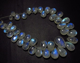 AAA - high grade quality - Amazing Flashy Blue fire Rainbow moonstone Smooth pear briolett Huge size - 4x5 - 8x12 mm - 41pcs