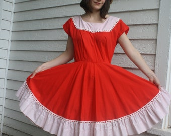 Vintage Red Square Dance Dress Country Dancing Pete Bettina Full Skirt S