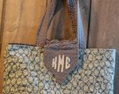 Blue hues modern print quilted fabric handbag - Free monogramming