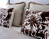"""Bold BOUNTY BROWN Otomi Hand Embroidered 20 x 20"""" Cover FAB!"""